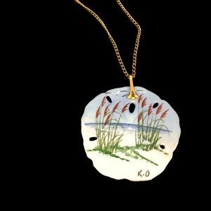 """Hand painted Sand Dollar Necklace w/ 22"""" chain"""